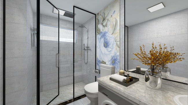 Decorative bathroom in marble tiles