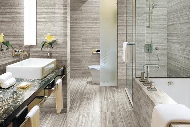 卫浴间+木纹砖,效果超赞!