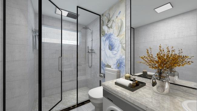 大理石瓷砖的浴室装饰性
