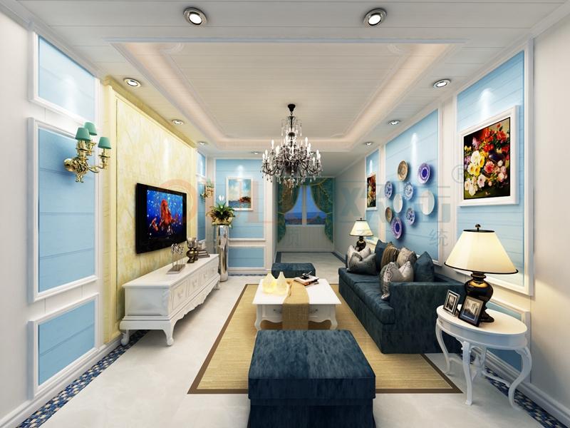 铝复合聚氨酯板客厅效果图5-全屋整装案例赏析效果图