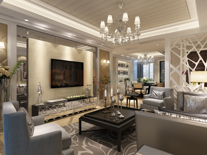 铝复合聚氨酯板客厅效果图7-全屋整装案例赏析效果图