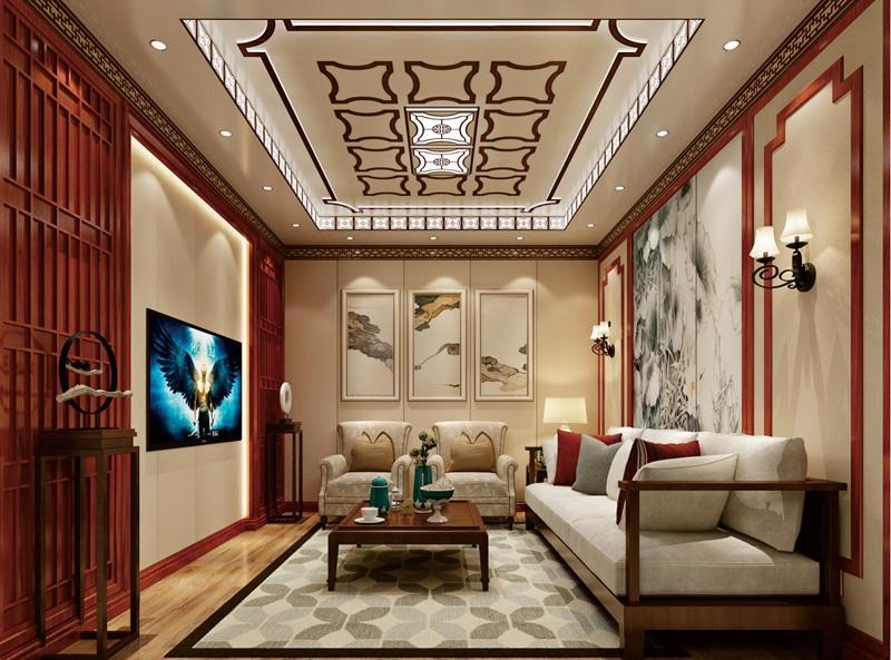 新中式风格客厅集成吊顶、集成墙面整装效果图