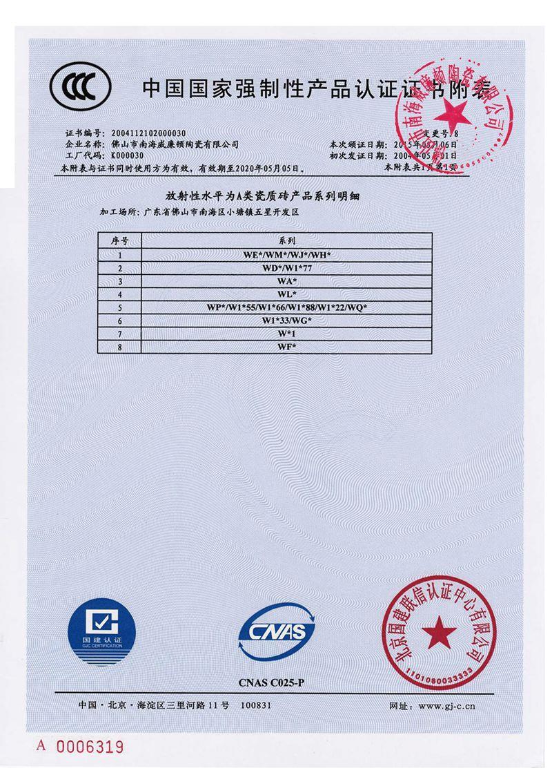 威廉顿国家强制性产品认证证书附表